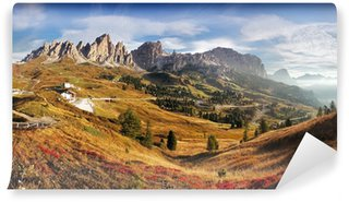 Vinylová Fototapeta Horské panorama v Itálii Alpy Dolomity - Passo Gardena