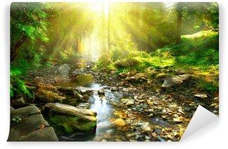 Vinylová Fototapeta Horské řeky. Poklidné krajina uprostřed zeleného lesa