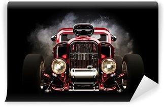 Vinylová Fototapeta Hotrod s kouřem na pozadí