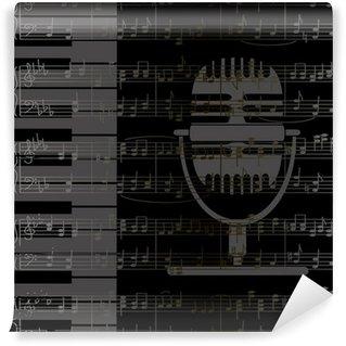 Vinylová Fototapeta Hudební pozadí s klávesnicí a mikrofonem