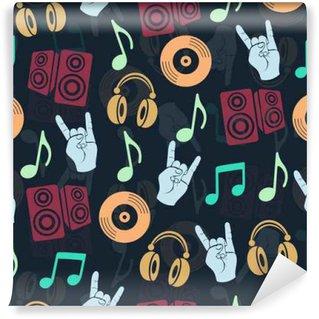 Vinylová Fototapeta Hudební vektor pozadí, hudební příslušenství bezešvé vzor. Silueta kreslení barevné sluchátka, disk CD, talíř, reproduktory, poznámky a prsty gesto koza temné