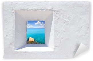 Vinylová Fototapeta Ibiza středomořské bílá zeď okno
