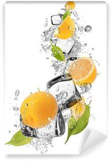 Vinylová Fototapeta Ice citrony na bílém pozadí