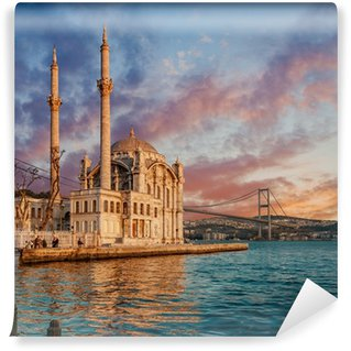 Vinylová Fototapeta Iconic view of Istanbul from Ortakoy with The Bridge, The Mosque and The Bosphorus