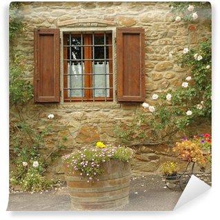 Vinylová Fototapeta Idylický okno s růží, Borgo Volpaia, Toskánsko