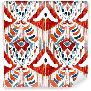 Vinylová Fototapeta Ikat bezešvé bohémský etnický vzor v akvarelu stylu.