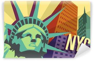 Vinylová Fototapeta Ilustrace New Yorku a Socha svobody
