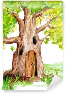 Vinylová Fototapeta Ilustrace pohádkový strom s dveřmi a okny