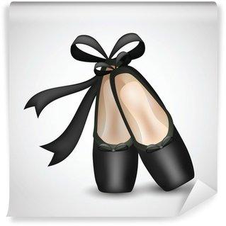 Vinylová Fototapeta Ilustrace realistické černé balet pointes boty