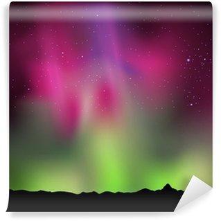 Vinylová Fototapeta Ilustrace severní polární záře světel na obloze