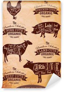 Fototapeta Winylowa Ilustracja schemat cięcia tuszek kurcząt, świń, krów, jagnięciny