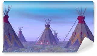 Vinylová Fototapeta Indian Camp na Dawn