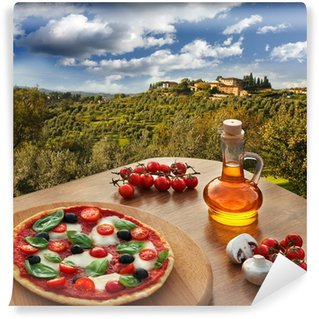 Vinylová Fototapeta Italská pizza in Chianti, Toskánsko krajiny, Itálie