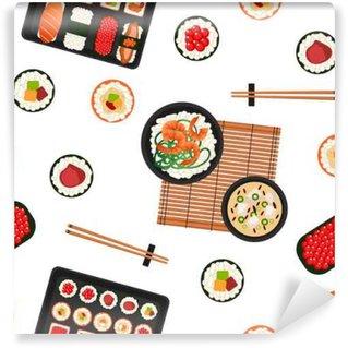 Fototapeta Vinylowa Japońskie jedzenie. Owoce morza. Sushi tła. Seamless Pattern