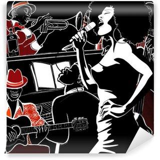 Vinylová Fototapeta Jazz band s kontrabasistou trubka klavír