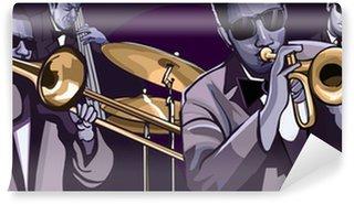 Vinylová Fototapeta Jazz band se trombonne trubku basy dvojitým bubnem a