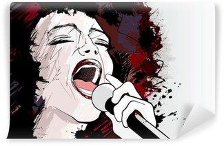 Vinylová Fototapeta Jazzová zpěvačka na pozadí grunge