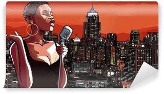 Vinylová Fototapeta Jazzová zpěvačka