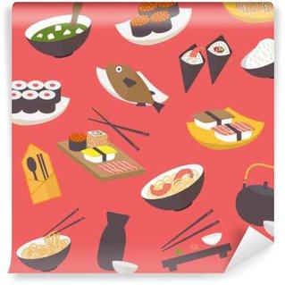 Fototapeta Vinylowa Jednolite wzór sushi, płaska konstrukcja wektor dla restauracji, menu, kawiarni, kulinarnych blogów i stron.