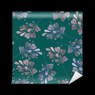 Fototapeta Vinylowa Jednolite wzór z różowym i fioletowym Akwarele liści i gałęzi na tle ciemnej zieleni, dekoracji ślubnych, ręcznie rysowane w pastelowych