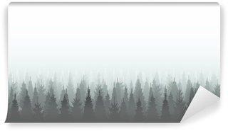 Vinylová Fototapeta Jehličnatý les siluetu šablony. Woods ilustrační