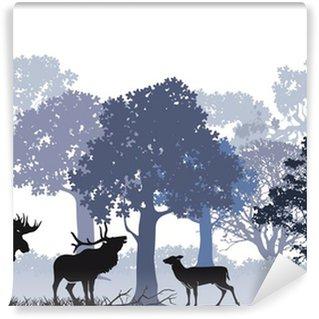 Fototapeta Winylowa Jeleń z łosia w lesie
