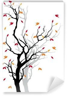 Fototapeta Winylowa Jesienne drzewo z spadających liści, wektor