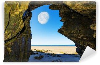 Vinylová Fototapeta Jeskyně na pláži a Měsíce