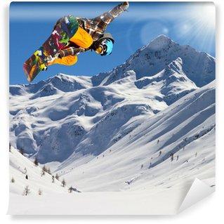 Vinylová Fototapeta Jezdec v čerstvém sněhu