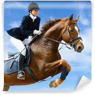 Vinylová Fototapeta Jezdecký jumper - Mladá dívka skákání s šťovíku koně
