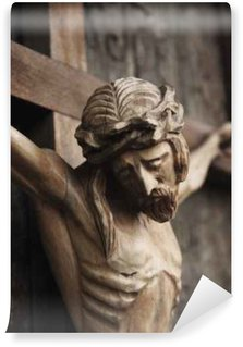 Vinylová Fototapeta Ježíš Kristus (dřevěná plastika)