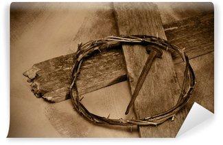Vinylová Fototapeta Ježíš Kristus kříž, nehtů a trnovou korunou