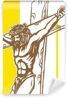 Fototapeta Vinylowa Jezus z watykan tle