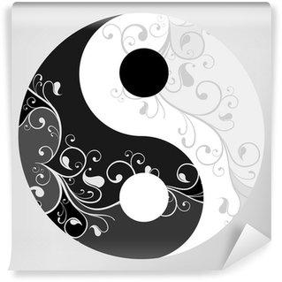 Vinylová Fototapeta Jin jang symbol vzor na šedém pozadí, vektorové ilustrace