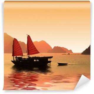 Vinylová Fototapeta Junk v Halong Bay - Vietnam