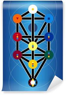 Vinylová Fototapeta Kabala židovské symboly na modrém pozadí