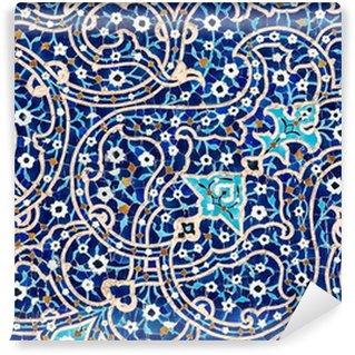 Fototapeta Winylowa Kaflowy w tle, orientalne ornamenty Meczet z Isfahan, Iran