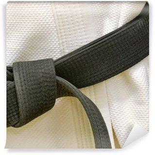 Vinylová Fototapeta Karate Black Belt na bílé uniformě