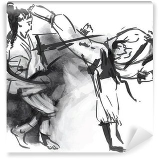 Vinylová Fototapeta Karate - Ručně malovaná (kaligrafické) vektor