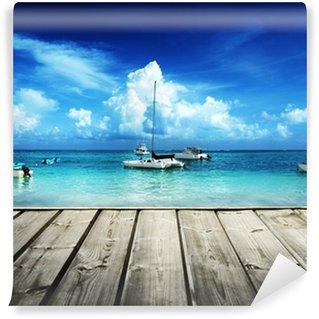 Vinylová Fototapeta Karibské pláže a jachty