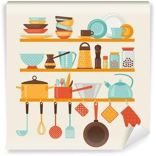 Vinylová Fototapeta Karta s kuchyňským policemi a kuchyňskými potřebami v retro stylu.