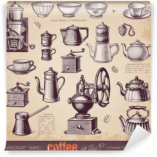 Fototapeta Winylowa Kawa czy herbata? - Zestaw starych elementów projektu