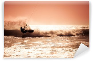 Vinylová Fototapeta Kite surfing na vlnách.