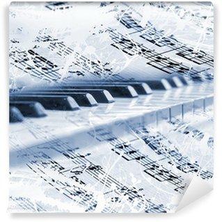 Vinylová Fototapeta Klavír klávesy s hudebními poznámkami