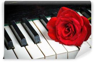 Vinylová Fototapeta Klavírní klávesnice a růže