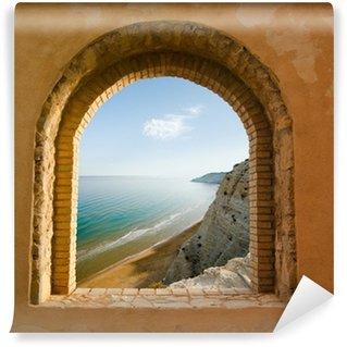 Vinylová Fototapeta Klenuté okno na pobřežní krajiny zátoce