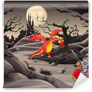 Vinylová Fototapeta Knight a drak v krajině s hradem.