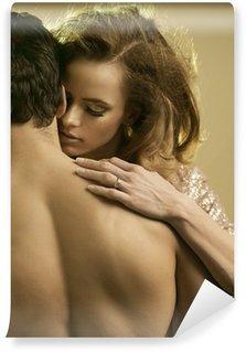Fototapeta Winylowa Kobieta dotykając jej chłopaka tęsknota