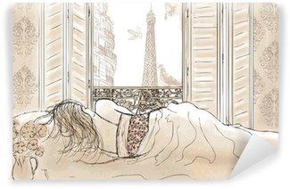 Fototapeta Vinylowa Kobieta śpi w Paryżu