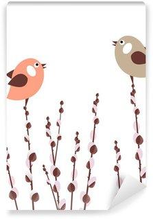 Vinylová Fototapeta Kočička větve s malými stylizovanými ptáky